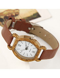 Fashion Brown Round Shape Dial Plate Decorated Simple Design Leather Ladies Watches