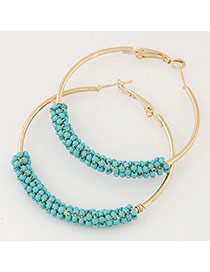 Fashion Light Blue Beads Decorated Circle Design Alloy Korean Earrings