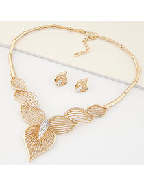 Fashion Gold Color Diamond Peach Decorated Hollow Out Design Alloy Jewelry Sets