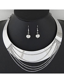 Exaggerate Silver Color Tassels Decorated Round Shape Design Alloy Jewelry Sets