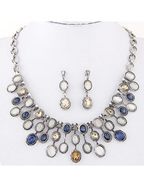 Fashion Blue Oval Diamond Decorated Symmetry Design