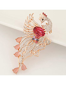 Exquisite  Red Diamond Decorated Hollow Out Peacock Shape Design Alloy Korean Brooches