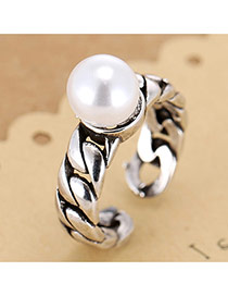 Retro Antique Silver Pearl Decorated Chain Shape Opening Design Cuprum Korean Rings