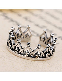 Retro Antique Silver Crown Shape Opening Design Cuprum Korean Rings