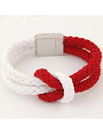 Fashion Red Color Matching Weave Double Layer Design Alloy Korean Fashion Bracelet