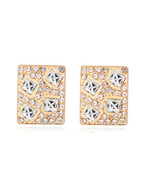 Luxurious Champagne Gold+white Diamond Decorated Square Shape Design Alloy Crystal Earrings