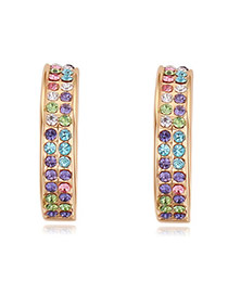 Luxurious Champagne Gold+multicolor Double Layer Diamond Decorated Simple Design Alloy Crystal Earrings
