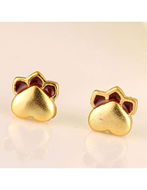Cute Gold Color Heart Decorated Feet Shape Design Cuprum Stud Earrings