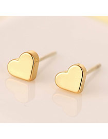 Sweet Gold Color Heart Shape Decorated Simple Design Zircon Stud Earrings