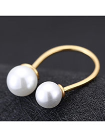 Sweet Gold Color Double Pearl Decoreated Opening Design Cuprum Korean Rings
