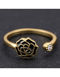 Sweet Black Rose Flower Decorated Opening Design Zircon Korean Rings