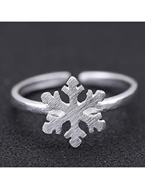 Sweet Silver Color Snowflake Shape Decorated Opening Design Cuprum Korean Rings