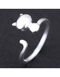 Sweet Silver Color Cat Shape Decorated Opening Design Cuprum Korean Rings