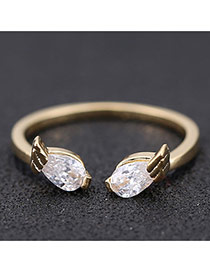 Sweet Gold Color Angel Wings Decorated Opening Design Zircon Korean Rings
