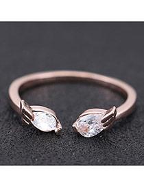 Sweet Rose Gold Angel Wings Decorated Opening Design Zircon Korean Rings