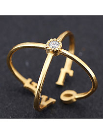 Sweet Gold Color Crossed Love Decorated Opening Design Zircon Korean Rings