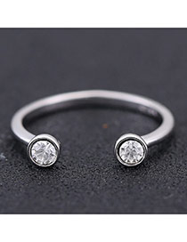 Sweet Silver Color Round Diamond Decorated Opening Design Zircon Korean Rings
