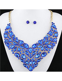 Exaggerated Sapphire Color Full Diamond Decorated Flower Shape Design
