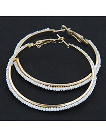 Fashion White Beads Decorated Round Shape Design Alloy Korean Earrings