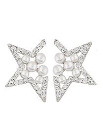 Sweet Silver Color Pearl Decorated Star Shape Design Alloy Stud Earrings