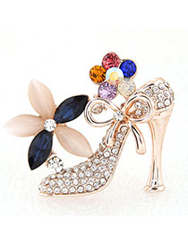Sweet Glod Color Diamond Flower Decorated High Heeled Shoes Shape Design Alloy Korean Brooches