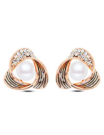 Fashion Glod Color Diamond Decorated Trangle Shape Design Alloy Stud Earrings