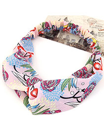 Fashion Pink Flower Pattern Simple Design Rubber Band Hair band hair hoop