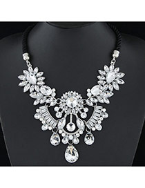 Fashion White Waterdrop Shape Diamond Decorated Short Weaving Design