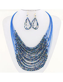 Bohemia Blue Beads Weaving Decorated Multilayer Design Alloy Jewelry Sets