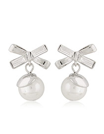 Sweet Silver Color Pearl Decorated Cross Design Alloy Stud Earrings
