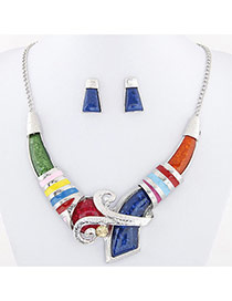 Temperament Multi-color Geometric Shape Diamond Decorated V Shape Design Alloy Jewelry Sets