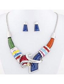 Temperament Multi-color Geometric Shape Diamond Decorated V Shape Design Alloy Jewelry Sets