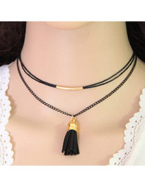Elegant Black Tassel Pendant Decorated Double Layer Design