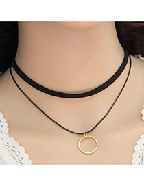 Elegant Black Round Shape Pendant Decorated Double Layer Design