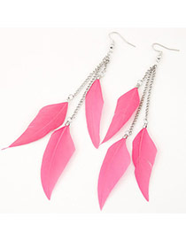 Personalized Pink Feather Pendant Decorated Tassel Design Alloy Korean Earrings