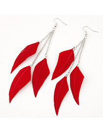 Personalized Red Feather Pendant Decorated Tassel Design Alloy Korean Earrings