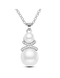 Fashion Silver Color Two Pearls Pendant Decorated Simple Design Alloy Bib Necklaces