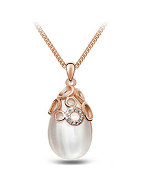 Personalized Gold Color Big Pearl Pendant Decorated Simple Design Alloy Bib Necklaces