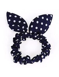 Cute Navy Blue Dot Patttern Bowknot Shape Design Rubber Band Hair band hair hoop