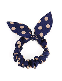 Vibrant Navy Blue Big Dot Patttern Bowknot Shape Design