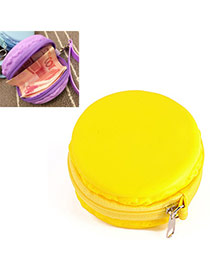 Candy Color Yellow Round Shape Decorated Simple Design Silica Gel Wallet