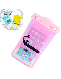 Transparent Pink Waterproof Phone Pocket Simple Design Pvc Household Goods