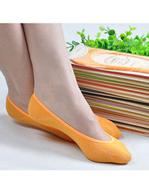 Candy Color Orange Shallow Mouth Invisible Socks Simple Design