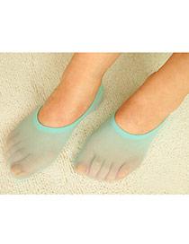 Preferential Green Shallow Mouth Invisible Socks Simple Design Velvet Fashion Socks