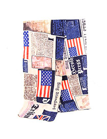 Fashion Multicolor Flag & Letter Pattern Simple Design Viscose Thin Scaves