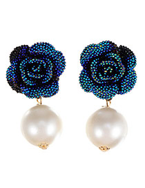 Glamour Dark Blue Pearl Decorated Rose Shape Design Alloy Stud Earrings