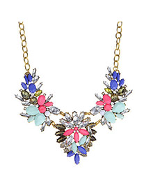 Luxurious Multicolor Diamond Decorated Flower Design Alloy Bib Necklaces