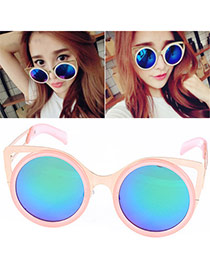 Creative Blue & Pink Round Frame Simple Design Resin Women Sunglasses