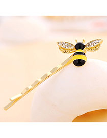 Vivid Yellow Diamond Decorated Bee Shape Design Alloy Hair clip hair claw