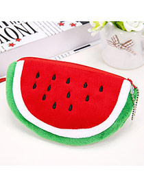 Wholesale Red & Green Watermelon Pattern Simple Design Flannel Wallet